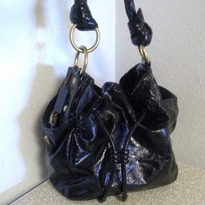 Coach Black Patent Leather Drawstring Bag.
